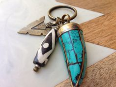 Turquoise horn keychain by BohemeLife on Etsy