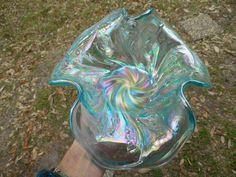 Spectacular Contemporary Ice Blue Fenton Tri Corner Acanthus Bowl | eBay