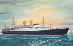 """Norddeutscher Lloyd Bremen Ocean Liner MS. """"Berlin"""" , 40-60s"""