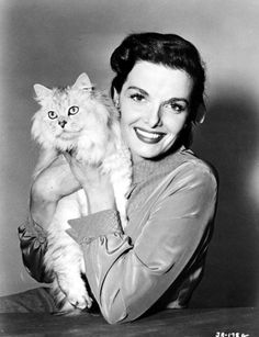 Jane Russell and beautiful white cat, 1951
