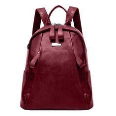 PU Leather Backpacks Women Solid Zipper Mochila Escolar School Bags For Teenagers Girls Travel Casual Shoulder Bag Blue Backpack - wine-red Travel Backpack, Backpack Bags, Fashion Backpack, Leather Fashion, Pu Leather, Backpack Reviews, School Bags For Girls, Casual Bags, Fashion Women