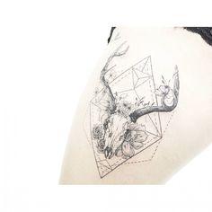 : deer skull + geometry . . . #tattooistbanul #tattoo #tattooing #design #geometrictattoo #geometry #deertattoo #blacktattoo #Blackworkers #tattoomagazine #tattooartist #tattoostagram #tattooart #inkstinctsubmission #tattooinkspiration #타투이스트바늘 #타투 #기하학 #사슴 #그림