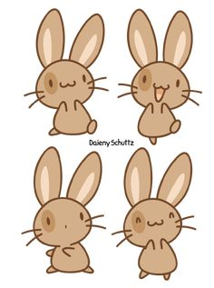Brown Bunny by Daieny on DeviantArt Kawaii Doodles, Cute Kawaii Drawings, Cute Animal Drawings, Cute Doodles, Chibi Bunny, Kawaii Bunny, Kawaii Chibi, Diy Kawaii, Kawaii Art