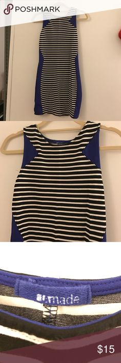 Black & White Striped Bodycon Dress w/ Blue detail Black & White Striped Bodycon Dress w/ Royal Blue detail la made Dresses