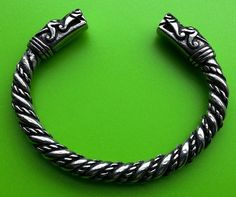 Viking Dragon Head Solid Hand Crafted Pewter Bracelet