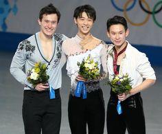 Yuzuru Hanyu (JPN), Patrick Chan (CAN), and Denis Ten (KAZ)  2014 Sochi