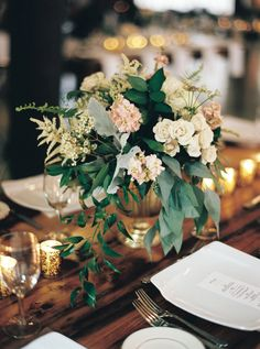 ivory blush and green centrepiece in gold brass vase