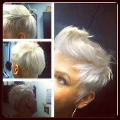Short hair. Platinum blonde. Pixie cut.