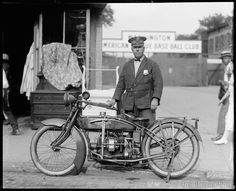 Eslie Williams photographed with his Hamilton Motorcycle in 1922. Image created by the National Photo Company on 4x5 glass plate negative.