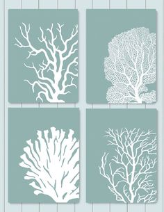 Set 4 Coral Prints Mist Blue/Green Nautical print Poster