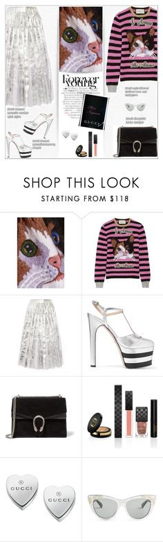"""""""GUCCI : Metallic + Stripes"""" by alves-nogueira ❤ liked on Polyvore featuring Gucci"""