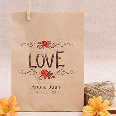 Bolsas Kraft para bodas personalizadas: LOVE