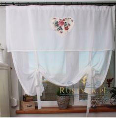 Firana biała z sercem  #curtains #firany #firanysalon #firanykuchni #firanynowoczesne #firanypanele #rolety #rustyka #szyciefiran #firanynawymiar #szyciefiran #rideaux Valance Curtains, Balloon Curtains, Shabby Chic, Home Decor, Table Toppers, Blinds, Curtains, Decoration Home, Room Decor