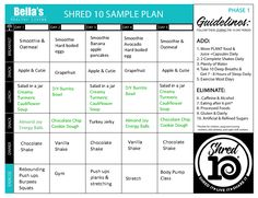 Shred10 - Bella's Healthy Living 10 Day Shred, Oatmeal And Eggs, Daily Checklist, Processed Sugar, Juice Plus, You Can Do Anything, Day Plan, Hard Boiled, Event Calendar