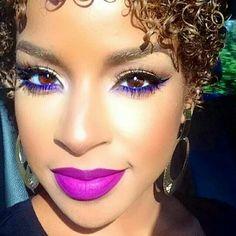 Pink lips purple eyes makeup