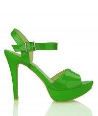 Lime Sorbet - Womens green patent platform sandal high heel shoes