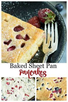 Sheet Pan Pancakes are the perfect way to make pancakes for a crowd. Baked in the oven they're an EASY breakfast to make where everyone is served at the same time. Less time and feeds a crowds a great way to serve pancakes without the hassle. Best Breakfast Recipes, Sweet Breakfast, Brunch Recipes, Dessert Recipes, Dinner Recipes, Desserts, How To Make Pancakes, Pancakes And Waffles, Holiday Recipes
