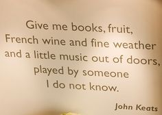 Well said Mr. Keats.  I couldn't have expressed it better myself.