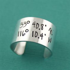 1/2 Inch Latitude & Longitude Adjustable Ring - Spiffing Jewelry - GPS Coordinates of any location in the world