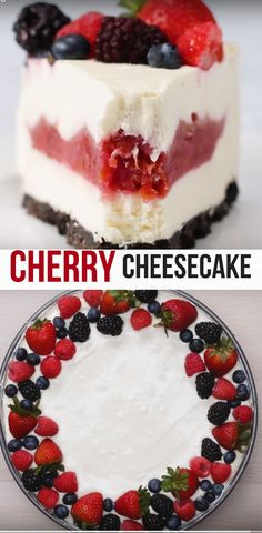 Cherry Pie-Filled Cheesecake Best Kids Dessert Video Recipe #dessert #cheesecake #baking #pie #cherry Dessert Cake Recipes, Cheesecake Recipes, No Bake Desserts, Just Desserts, Delicious Desserts, Yummy Food, Raspberry Cheesecake, Healthy Recipes, Baking Recipes