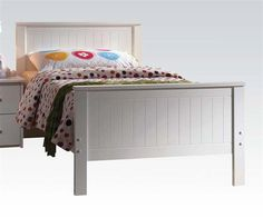 Bungalow Youth White Wood Twin Panel Bed