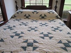 Queen Size Shoo Fly Quilt With Denim Print Fabric