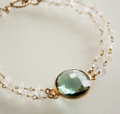 Teal Quartz and Rainbow Moonstone Bracelet  by OhKuol, $69.00