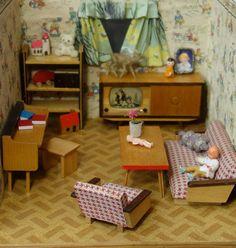 Large Vintage German Dollhouse Room Box Kitchen Livingroom