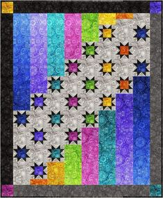Aurora Nights Quilt Kit - Bohemian Rhapsody - Dan Morris - Quilting Treasures - Options for backing! Featuring the Bohemian Rhapsody fabric collection by Quilting Treasures. Instructions and pattern Finished quilt measures approximately 56 inches by 68 in Quilt Baby, Lap Quilts, Strip Quilts, Scrappy Quilts, Small Quilts, Bargello Quilts, Star Quilt Blocks, Star Quilt Patterns, Canvas Patterns