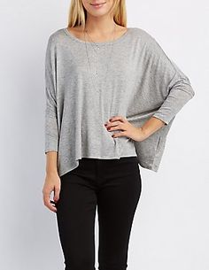 Dolman Sleeve Tee (layered necklaces, gray loose shirt)