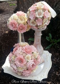 This listing for a single CUSTOM designed Bridal Bouquet, diameter measurements varying based on final design. For custom bridal package quotes contact us at mptsflowers@gmail.com or inquire through www.morepaperthanshoes.com The flowers are made with smooth, heavy cardstock that