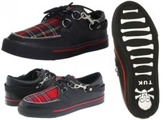 Black Leather Creeper Style Sneaker With Red Plaid Top by Tred Air UK (Sale price!)