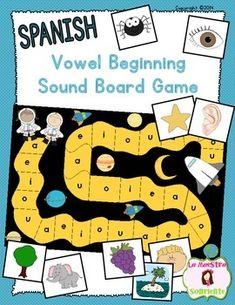 Spanish Beginning Sound Recognition: Initial Sound Vowel Board Game (AEIOU): Students identify beginning sounds using picture cards to advance to the end of this board game. Fun game for the beginning of the year! $