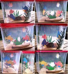 Ces petits qui sont nos grands Espoirs Fish Activities, Creative Activities, Sea Crafts, Fish Crafts, Fabrication D'aquarium, Aquarium Craft, Art For Kids, Crafts For Kids, Bunny Room