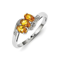 925 Rhodium Flashed Silver 3-Stone Oval Citrine and Diamond Ring