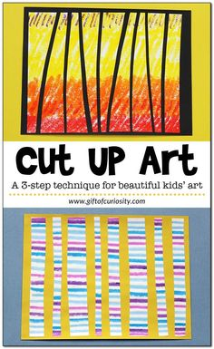 creative art Cut Up Art: A creative twist on painting that uses several art mediums and provides a beautiful finished product. A great kids art project! Preschool Art Projects, Art Activities For Kids, Art For Kids, Preschool Art Lessons, Art Projects For Kindergarteners, Art Projects Kids, Kids Art Lessons, Process Art Preschool, Art Children