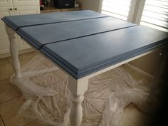Denim Blue chalkboard kitchen table top with bright white legs.