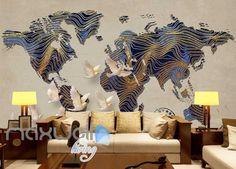 Graphic Art Design World Map Patterns Wall Poster Art Wall Murals Wallpaper Decals Prints Decor IDCWP-JB-000305