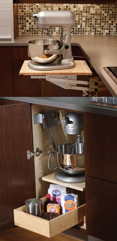Even though heavy-duty mixers make baking easier, lugging the appliance out makes whipping up a batch of cookies sound like it's more work than it's worth — unless you have this cabinet that brings the mixer to you.