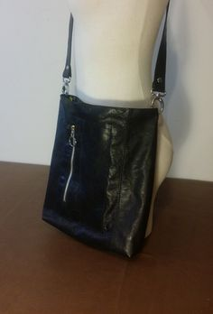 Save 20% Small Black Crinkle Leather Crossbody Bag Handmade in USA by ForgedLeatherBags on Etsy