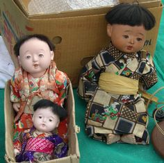 Three adorable antique ichimatsu dolls that I came across at a market in Himeji.  www.etsy.com/shop/StyledinJapan