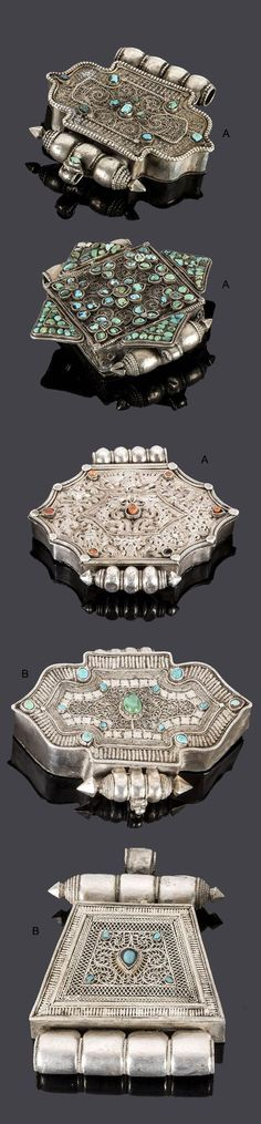 Tibet | Five 'gau' ornaments; silver, turquoise and coral | Est. 200 - 300€ (Lot A) and 200 - 300€ (Lot B)