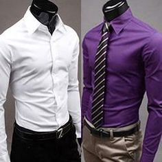 Men's Solid Candy Color Long Sleeve Slim Fit Dress Shirt