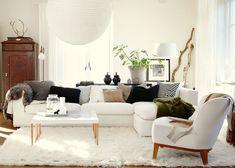 white looks so good #livingroom  interior design, sofas, flooring, ceiling, lighting, rugs, coffee tables, art in the living room #decorating loft wallpaper