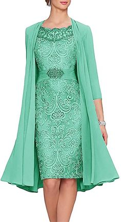 APXPF Women's Tea Length Mother Of The Bride Dresses Two Pieces With Jacket Aqua US2 at Amazon Women's Clothing store: