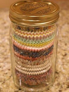 Mason Jar Projects, Mason Jar Crafts, Diy Projects, Mason Jar Sconce, Cupcake Liner Storage, Cupcake Liners, Cupcake Wrappers, Cupcake Holders, Bottles And Jars