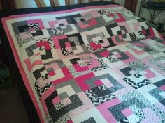 Modern Black White and Pink Lap quilt by QuiltsByTaylor on Etsy, $225.00