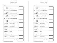 Yatzee Printable Score Sheets  Yahtzee Score Card  All For Fun
