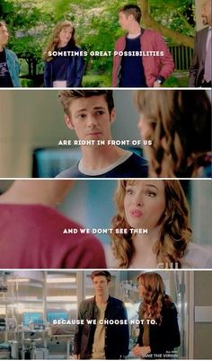 Sometimes great possibilities are right in front of us and we don't see them because we choose not to. ~ The Flash Snowbarry ~ Barry & Caitlin The Flash Quotes, Barry And Caitlin, The Flash Season 1, Best Tv Couples, The Flash Grant Gustin, Dc Tv Shows, Snowbarry, Killer Frost, Supergirl And Flash