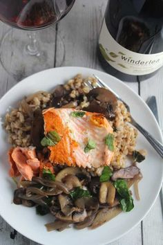 pan seared wild salmon served with farro and mushrooms, delicious paired with Winderlea Pinot Noir from the Willamette Valley. #salmon #winepairing #pinotnoir #sponsored
